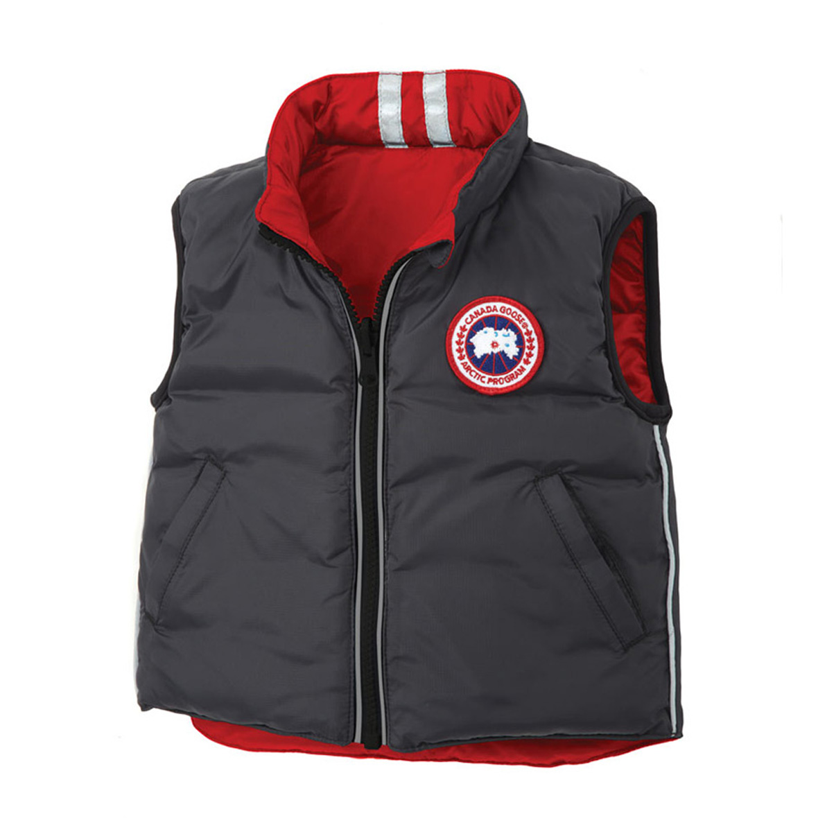 Canada Goose Infants [0M-12M] Cub Reversible Vest BLACK RED